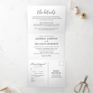 3 in 1 Elegant Photo Wedding Tri-Fold Invitation