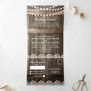 3 in 1 Rustic Baby's Breath Wedding Tri-Fold Invitation