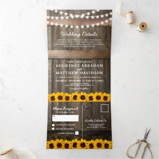 3 in 1 Rustic Country Sunflower Wedding Tri-Fold Invitations