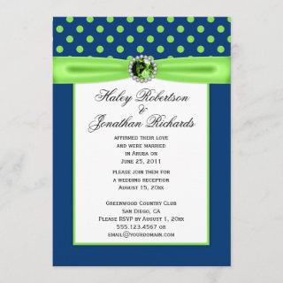 #3 Navy Blue and Lime Green Polka Dots Wedding
