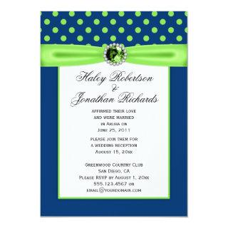 #3 Navy Blue and Lime Green Polka Dots Wedding Invitations