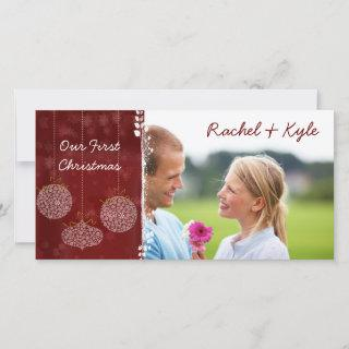 3 Ornaments Our First Christmas Your Photo Holiday Card