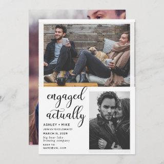 3 Photo Engaged Actually Engagement Party Invite