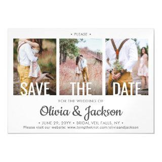 3 Photo Modern Typography Wedding Save the Date Magnetic Invitations