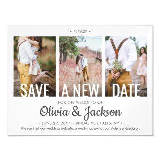 3 Photo Wedding Postpone | Change | Save the Date Magnetic Invitations