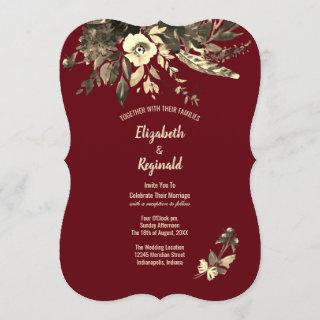 3Autumn Burgundy Dried Watercolor Floral Wedding Invitation