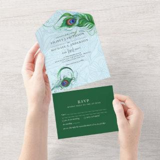 3in1 Peacock Blue Green Feather Wedding RSVP All I All In One