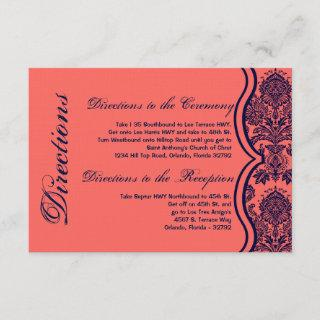 3x5 Directions Card Navy Blue Coral Damask Lace