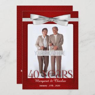 40-Years Wedding Anniversary Ruby Red and White Invitations