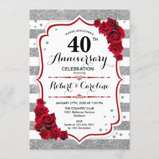 40th Anniversary - Silver White Red Roses Invitation