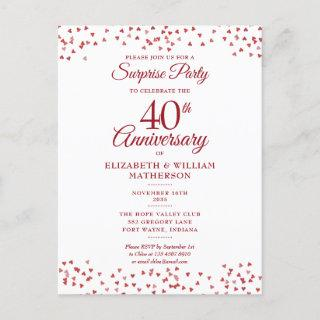 40th Wedding Anniversary Ruby Heart Surprise Party Announcement Postcard
