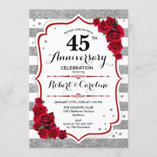 45th Anniversary - Silver White Red Roses Invitations