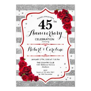 45th Anniversary - Silver White Red Roses Invitation