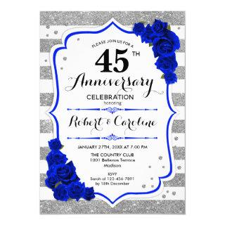 45th Anniversary - Silver White Sapphire Blue Invitations