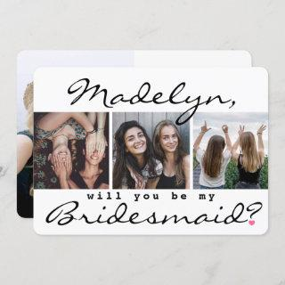 4 Photo Collage Will You Be My Bridesmaid Proposal