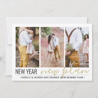 4 Photo Reduced Wedding New Years Change of Plans Holiday Card