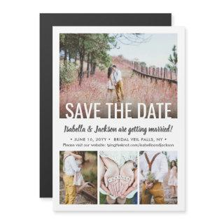 4 Photo Wedding Save the Date Chic Modern Picture Magnetic Invitation