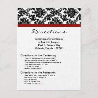 4x5 Directions Card Black Damask Red Reception