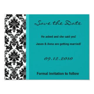 4x5 Save the Date Card - Black Damask & Teal Turqu