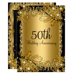 50th Anniversary Gold Black Diamond Floral Swirl Invitations