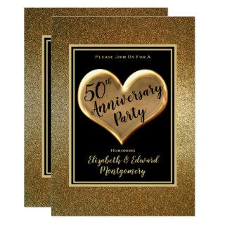 50th Anniversary Gold Sparkle - Party Invitations