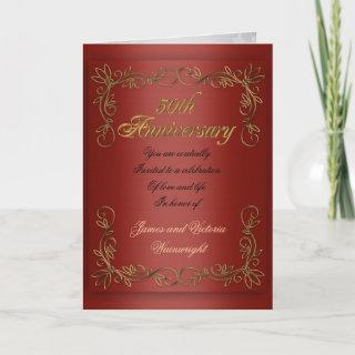 50th anniversary party for parents red satin look invitation