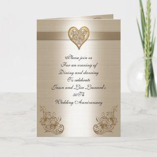 50Th anniversary party Invitations gold heart
