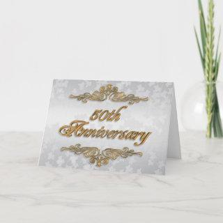50th Anniversary party invitation golden text