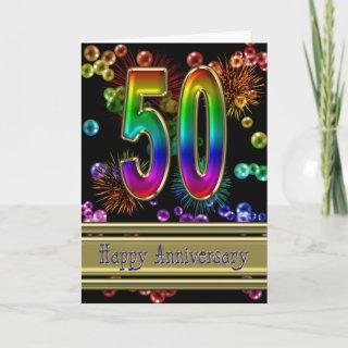 50th anniversary with fireworks and bubbles card