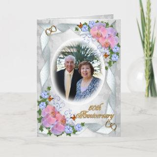 50th Anniversary with photo Invitations orchids
