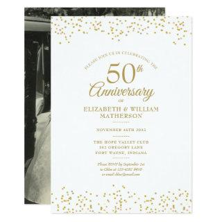 50th Anniversary Your Wedding Photo Gold Dust Invitations