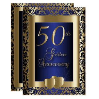 50th Gold and Blue Wedding Anniversary | DIY Text Invitations