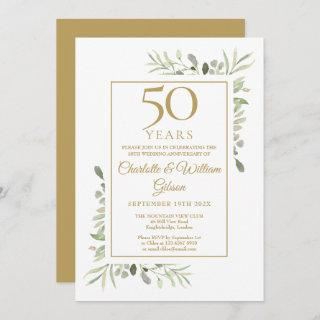 50th Gold Anniversary Watercolour Greenery Leaves Invitation
