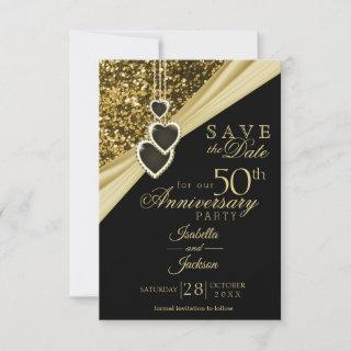 50th Gold Glitter Anniversary - Save the Date