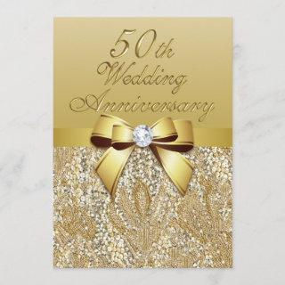 50th Gold Wedding Anniversary Faux Bow Sequins