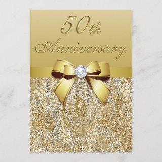 50th Gold Wedding Anniversary Faux Sequins and Bow Invitation