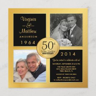 50th Golden Anniversary with Past & Present Photos Invitation