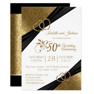 50th Golden Heart Anniversary Design Invitation