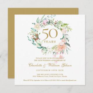 50th Golden Wedding Anniversary Watercolor Floral