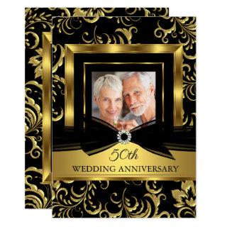 50th Wedding Anniversary Black Gold Damask Photo Invitations