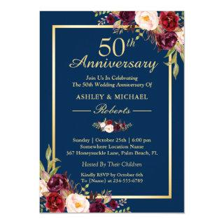 50th Wedding Anniversary Burgundy Floral Navy Blue Invitation