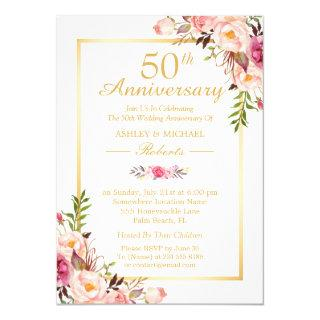 50th Wedding Anniversary Elegant Chic Gold Floral Invitations