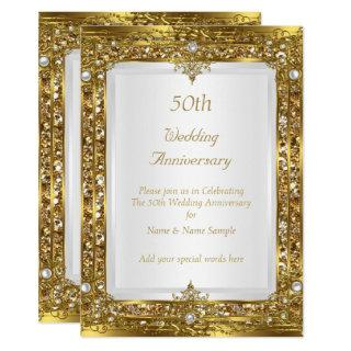 50th Wedding Anniversary Gold Glitter White Pearl Invitations
