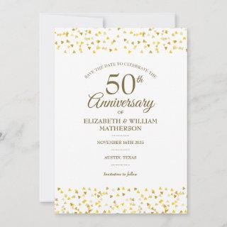 50th Wedding Anniversary Golden Love Hearts Save The Date