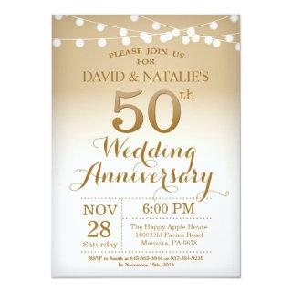 50th Wedding Anniversary Invitations Gold