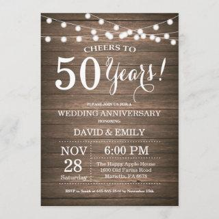 50th Wedding Anniversary Invitation Rustic Wood