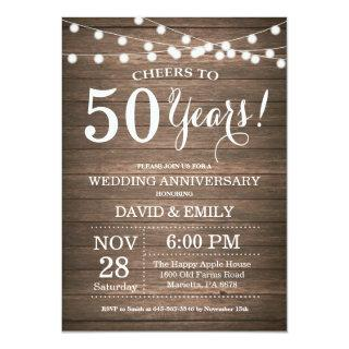 50th Wedding Anniversary Invitations Rustic Wood