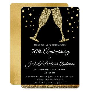 50th Wedding Anniversary Party Champagne Glasses Invitations