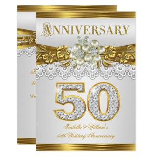 50th Wedding Anniversary Party Gold White Pearl Invitation