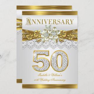 50th Wedding Anniversary Party Gold White Pearl Invitations